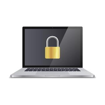 Koncepcja bezpieczeństwa komputera. laptop z blokadą na ekranie. realistyczna ilustracja.