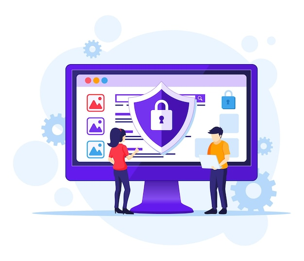 Koncepcja bezpieczeństwa komputera, ludzie pracują na ekranie, chroniąc dane i pliki.