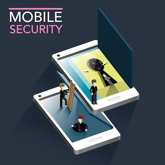 Koncepcja bezpieczeństwa mobilnego płaska izometryczna infografika 3d ze złodziejami próbującymi zaatakować miejsce