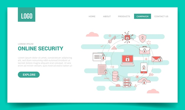 Koncepcja bezpieczeństwa online z ikoną koła dla szablonu witryny lub strony docelowej, styl konturu strony głównej