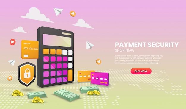 Koncepcja bezpieczeństwa płatności z tarczą i kolorowym elementem. ilustracja wektorowa 3d, obraz bohatera na stronie internetowej