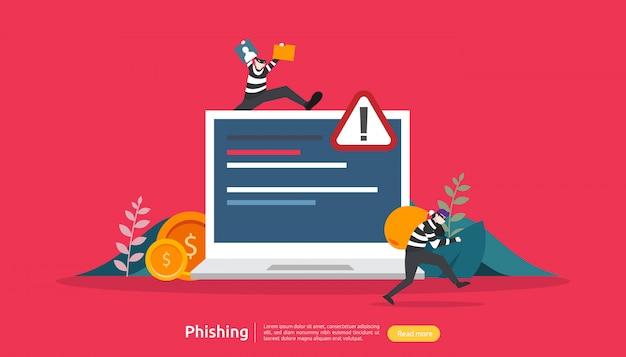 Koncepcja bezpieczeństwa w internecie z postacią małych ludzi. atak phishingowy na hasło. kradzież danych osobowych. strona docelowa, szablon baneru, prezentacji, mediów społecznościowych i mediów drukowanych. ilustracja
