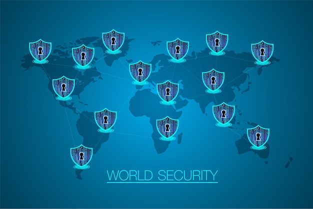 Koncepcja bezpieczeństwa, zamknięta kłódka, bezpieczeństwo cybernetyczne, niebieski streszczenie technologia hi-speed.