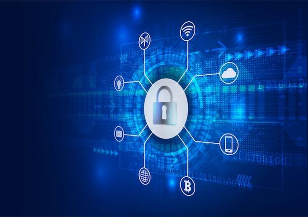 Koncepcja bezpieczeństwa zamknięta kłódka cyfrowa ochrona cybernetyczna