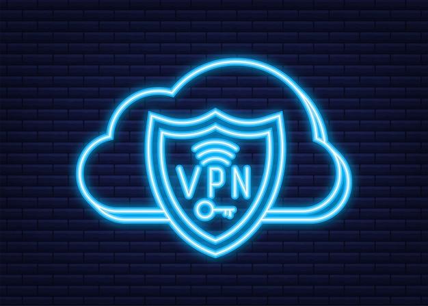 Koncepcja bezpiecznego połączenia vpn. omówienie połączeń w wirtualnej sieci prywatnej. neonowy styl. czas ilustracja wektorowa.
