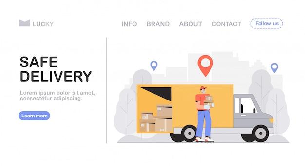 Koncepcja bezpiecznej dostawy i usługi kurierskiej, człowiek dostawy w masce ochronnej, trzymający zamówione pudełko i stojący samochód dostawczy.
