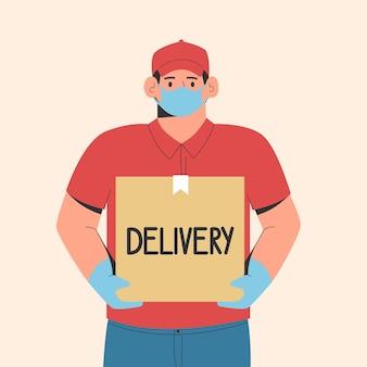 Koncepcja bezpiecznej dostawy kurier dostarczający zamówienie w ochronnej masce medycznej i rękawiczkach