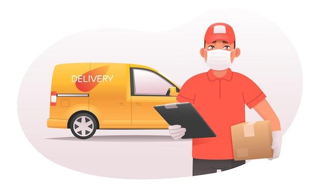 Koncepcja bezpiecznej dostawy towarów. kurier w masce i rękawiczkach trzyma w rękach paczkę na tle furgonetki. ilustracja wektorowa w stylu kreskówki