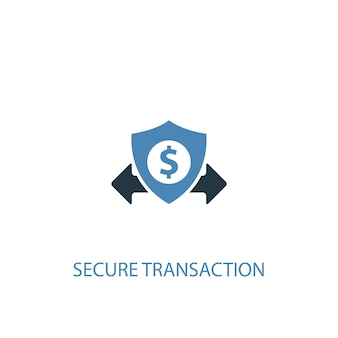 Koncepcja bezpiecznej transakcji 2 kolorowa ikona. prosta ilustracja niebieski element. projekt symbolu bezpiecznej transakcji. może być używany do internetowego i mobilnego interfejsu użytkownika/ux