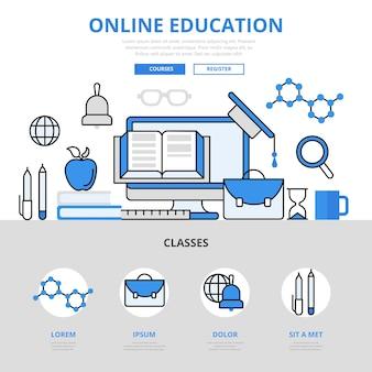 Koncepcja biblioteki kursów edukacji online w stylu linii płaskiej.