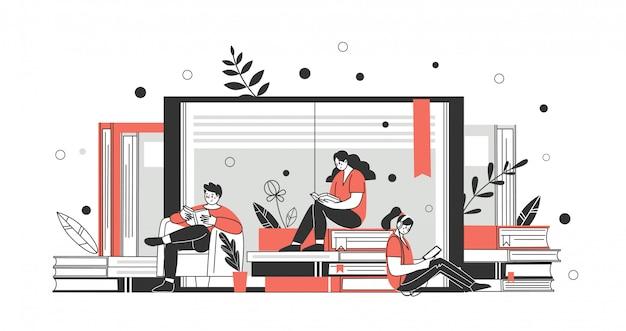 Koncepcja biblioteki online, księgarni, czytaj więcej. aplikacje do czytania i pobierania książek. wektor
