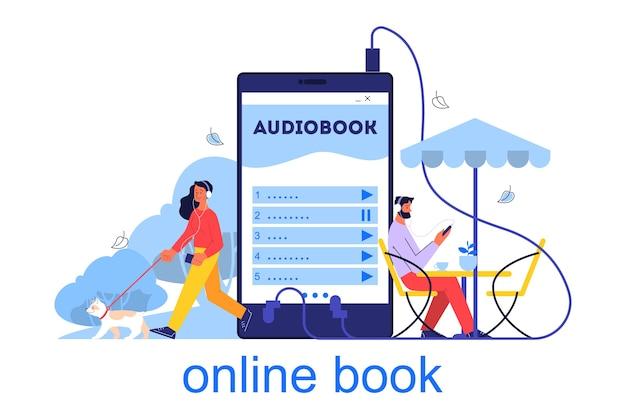 Koncepcja biblioteki online. pomysł na naukę zdalnie przez internet, e-biblioteka. ludzie słuchają cyfrowych książek na smartfonie. ilustracja