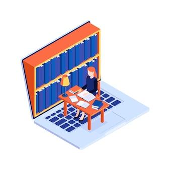 Koncepcja biblioteki online z laptopem i kobietą czytającą książki przy biurku 3d izometryczny