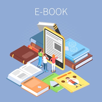Koncepcja biblioteki z symbolami czytania online i ebooki izometryczny