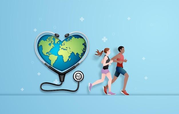 Koncepcja biegania dla zdrowia. wycinanka .