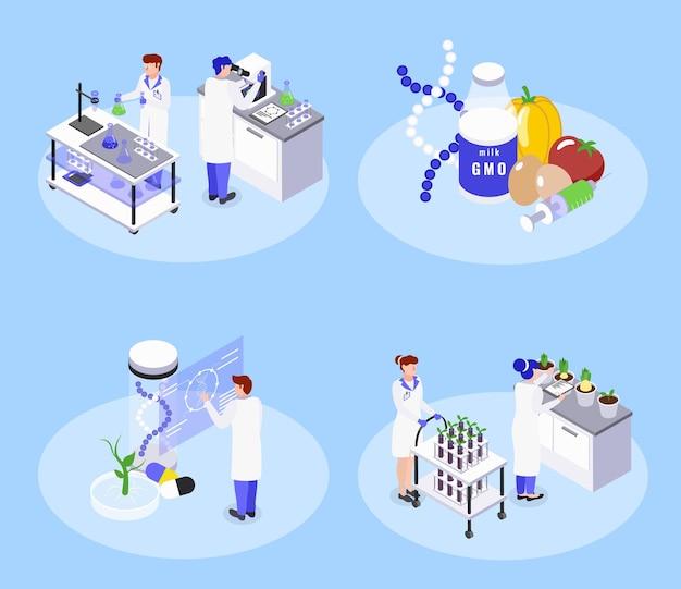 Koncepcja bioinżynierii z izometryczną ilustracją