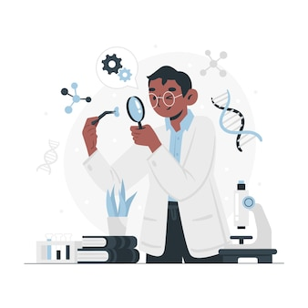 Koncepcja biotechnologii płaska ilustracja