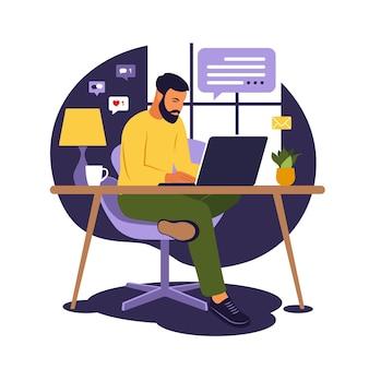 Koncepcja biura domowego, człowiek pracujący w domu. student lub wolny strzelec. niezależny lub koncepcja studiów. ilustracja. płaski styl.