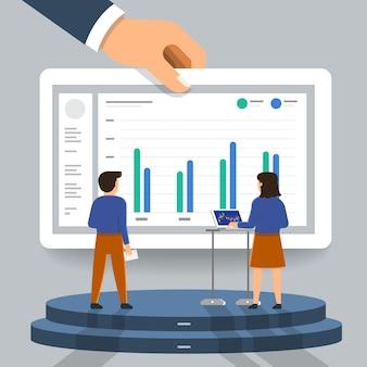 Koncepcja biznesmen analizy danych cyfrowych. zilustrować