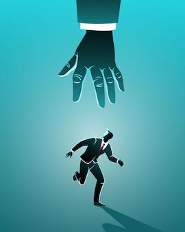 Koncepcja biznesowa, biznesmen biegnie z dużej ręki