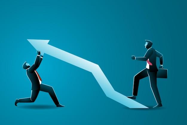 Koncepcja biznesowa, biznesmen w górę, aby popchnąć w górę białą strzałkę z biznesmenem chodzącym po niej, symbolizując pracę zespołową i wzrost.