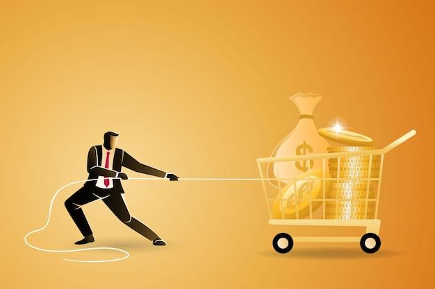 Koncepcja biznesowa, biznesmen wyciągnąć dużo pieniędzy na wózek