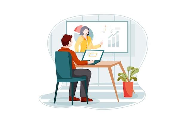 Koncepcja biznesowa coaching ilustracja