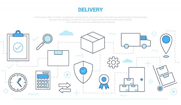 Koncepcja biznesowa dostawy dostawy z ikoną stylu linii połączonym z niebieskim białym nowoczesnym stylem
