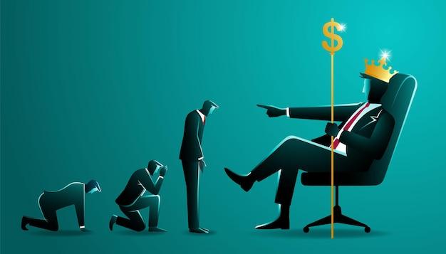 Koncepcja biznesowa, duży biznesmen ze złotą koroną, trzymając kij z rzeźbami waluty dolarowej siedzi na krześle, jednocześnie dowodząc kilku małym biznesmenem