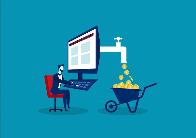 Koncepcja biznesowa generująca zysk za pomocą internetu, taka jak freelancing, marketing biznesmen lub e-commerce siedząc prosto na krześle pracując na komputerze