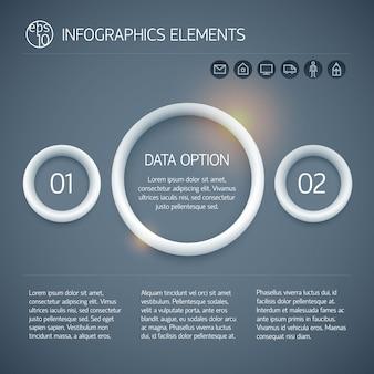 Koncepcja biznesowa infografika koło z pierścieniami tekst dwie opcje i ikony na ciemnym tle na białym tle