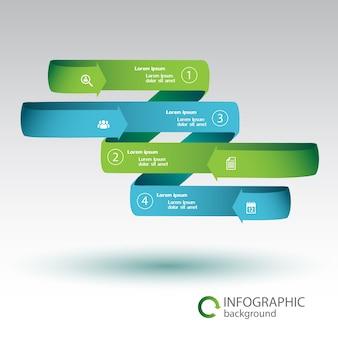 Koncepcja biznesowa infografika wstążki z zielonymi i niebieskimi zakrzywionymi strzałkami cztery opcje i ikony na białym tle