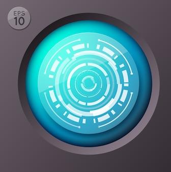 Koncepcja biznesowa infografika z okrągłym przyciskiem i futurystycznym obrazem koła z ilustracją linii okalającej interfejs dotykowy