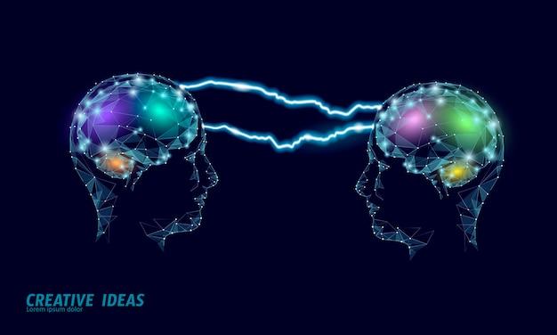 Koncepcja biznesowa inteligentny ludzki mózg iq. e-learningowy suplement nootropowy braingpower. burza mózgów projekt kreatywny pomysł pracy wielokątna ilustracja.