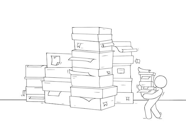 Koncepcja biznesowa kreskówka o papierkowej robocie. ręcznie rysowane kreskówki