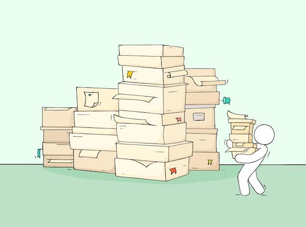 Koncepcja biznesowa kreskówka o papierkowej robocie. wyciągnąć rękę