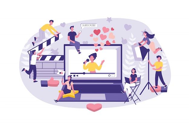 Koncepcja biznesowa marketing wpływowy. duża grupa pracowników gotowych do pracy zespołowej, filmowania celebrytów i zaawansowania treści. zespół biznesmenów z powodzeniem wykonuje pracę