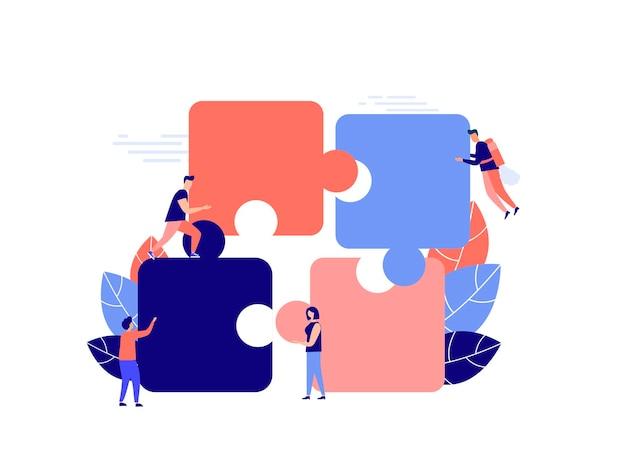Koncepcja biznesowa metafora współpracy zespołowej współpracy partnerskiej ludzie układają puzzle