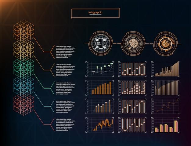Koncepcja biznesowa plansza. elementy infografiki. szablon infographic 5 pozycji, kroki.