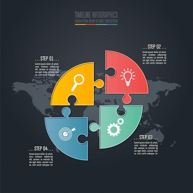 Koncepcja biznesowa plansza osi czasu z 4 opcjami.