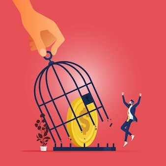 Koncepcja biznesowa płaska duża ręka wyciąga monety z klatki metafory wolności finansowej