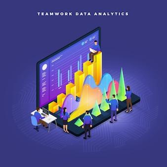 Koncepcja biznesowa pracy zespołowej ludzi pracujących na wykresie analizy danych dotyczących rozwoju