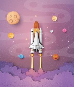 Koncepcja biznesowa promu kosmicznego do nieba, sztuki papieru i rzemiosła.
