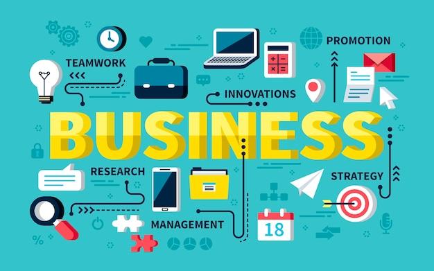 Koncepcja biznesowa, słowa biznesowe z materiałami biurowymi