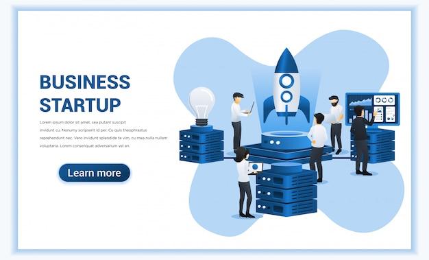 Koncepcja biznesowa start-up z ludźmi pracuje nad rakietą przygotowującą się do uruchomienia nowej firmy start-up.