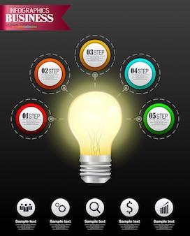 Koncepcja biznesowa szablon infografiki z 5 opcji