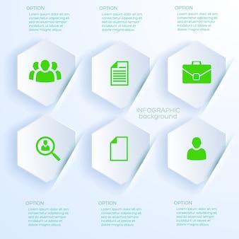 Koncepcja biznesowa w stylu białej księgi z sześcioma sześciokątnymi kształtami infografiki