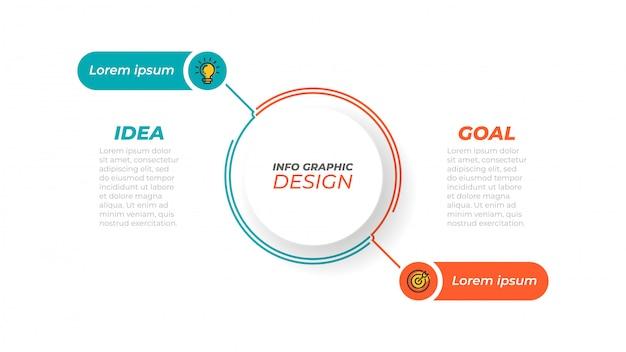 Koncepcja biznesowa z 2 krokami, opcjami, procesami. szablon.