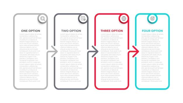 Koncepcja biznesowa z 4 opcjami etapami części.