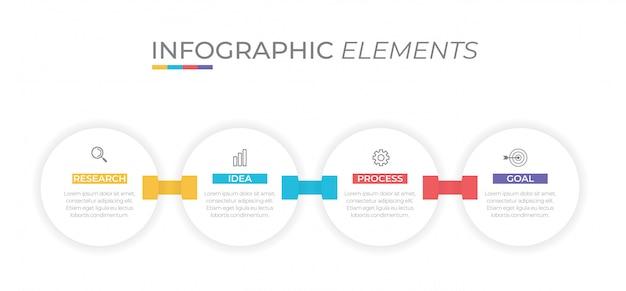 Koncepcja biznesowa z 4 opcjami, krokami lub procesami.